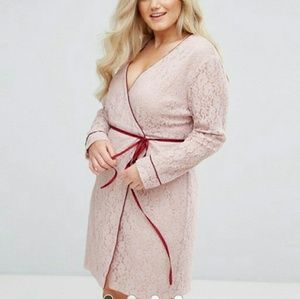 Alice & You Wrap Front Long Sleeve Dress In Lace